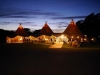 Tepee tent by night at Smedmore House