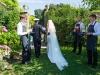 Bride and Groom entering garden