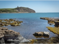 View across Kimmeridge Bay to Clavell Tower